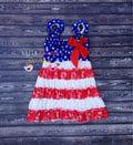 La bandera americana, estampado de moda. Bandera de puntillas