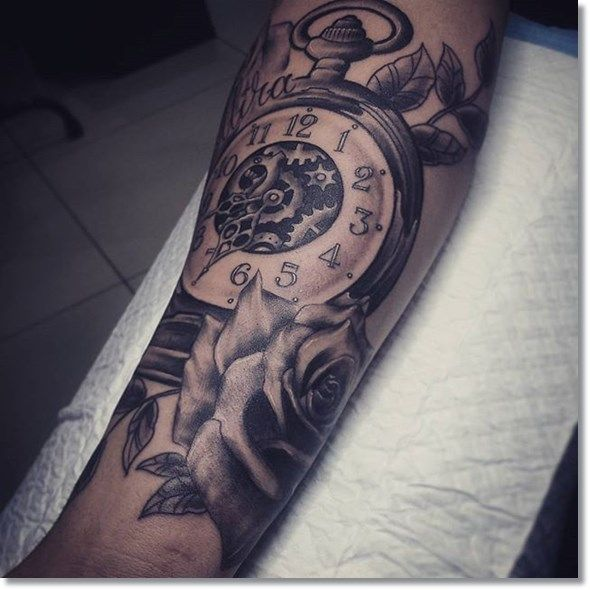 pocket+watch+tattoo+design+on+forearm
