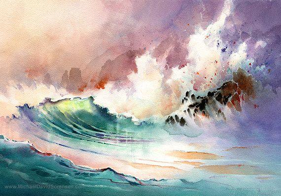 On the Rocks - impression de peinture aquarelle par Michael David Sorensen. Fracas des vagues. Art de l
