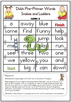 Dolch Pre-Primer Words Snakes and Ladders Games x 6 - 6 pages $