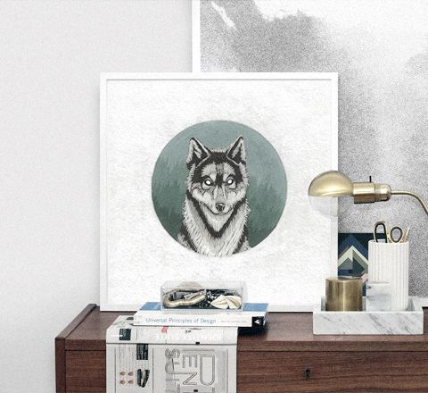 Тимур Кошка «Дух волка в таёжном спектре». 30x30, 40x40