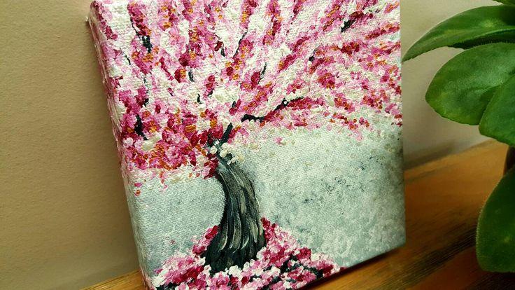 Sakura-Baum, Kirschbaum, Kirschbaum, abstrakte Baum Art, rosa Blüten, skurrilen Gemälde, Fantasy-Malerei, Acryl-Malerei