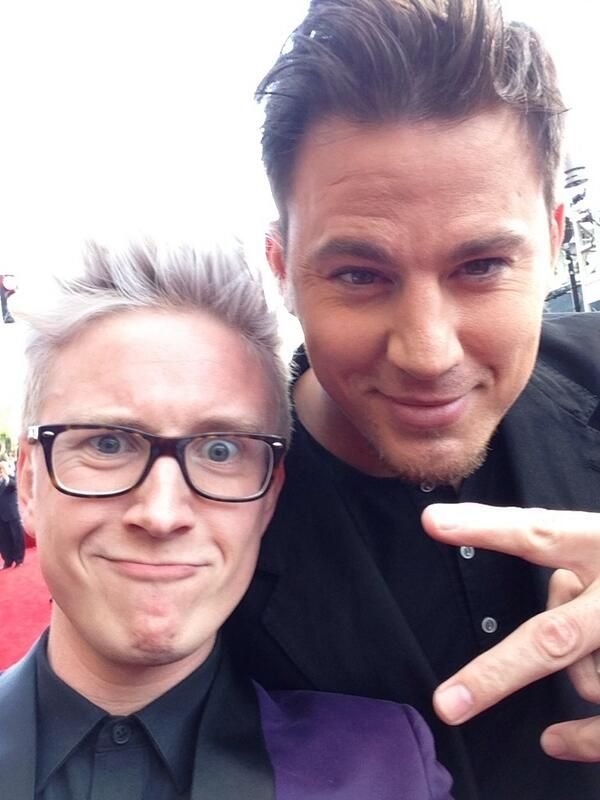 Tyler Oakley  and channing tatum. My life is made Tyler looks so small compared to Channing Tatum
