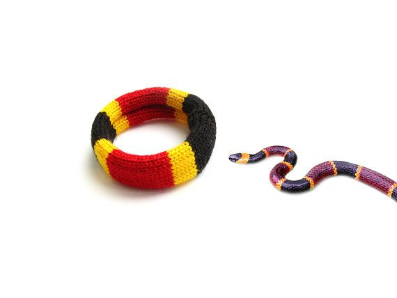 Coral Snake skin knitted bracelet by WoodWowWool on Etsy