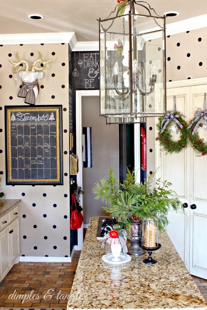 Polkadots add a classic feeling of charm and whimsy to this rustic space. I am obsessed with this look.