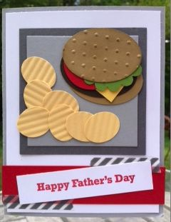 """Hamburger """"Happy Father's Day"""" card. Stampin' Up! punches. www.mailsomethingpretty.com"""
