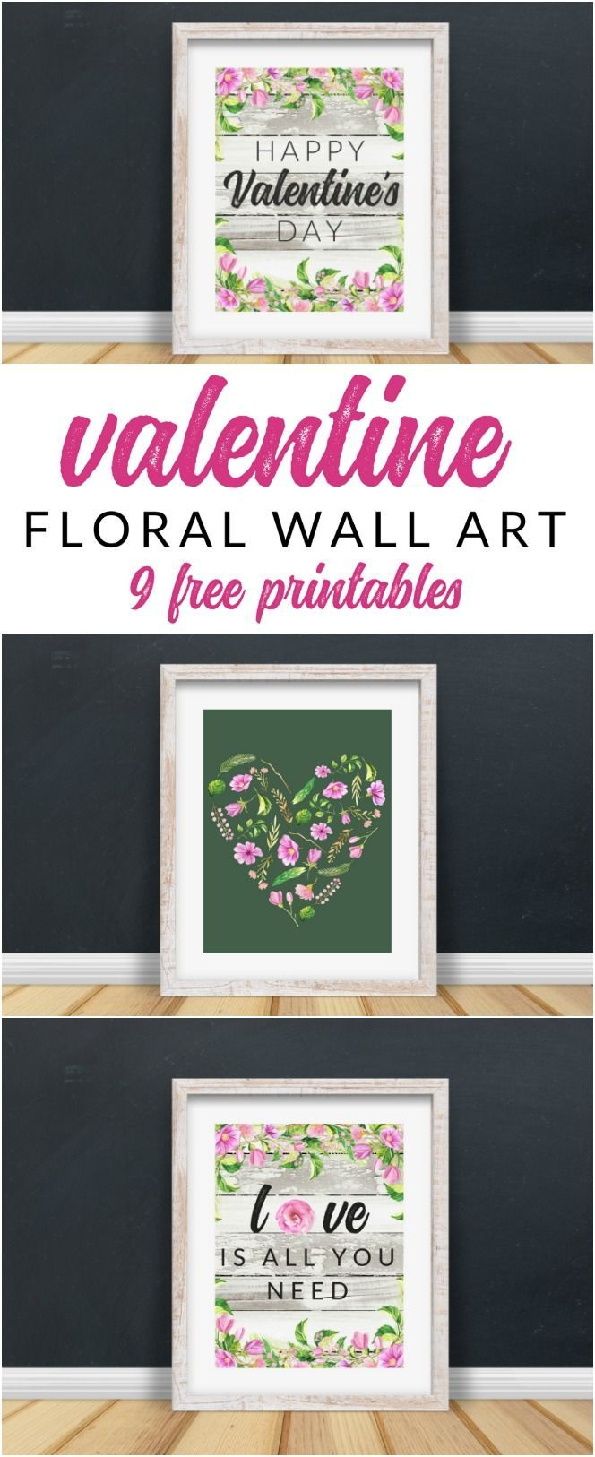 This FREE Floral Valentine Printable Pack is perfect for your holiday decor and gallery walls. 9 free farmhouse style Valentine printables that feel just a bit like spring. #valentinesday #valentineprintables #floralprintables #farmhousevalentine