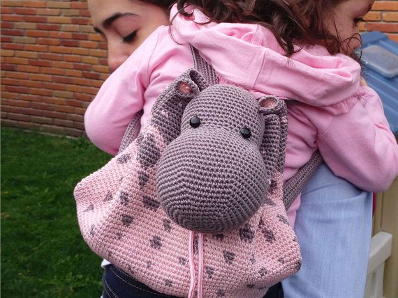 Crochet pattern for hippo backpack. Cute and by chabepatterns