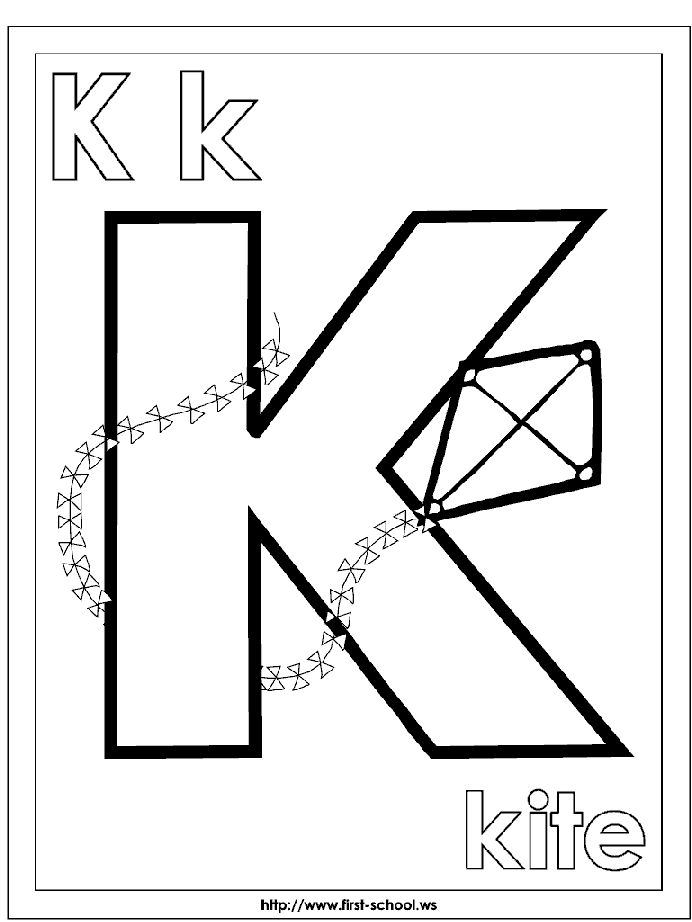 K For Kite Coloring Page At First School