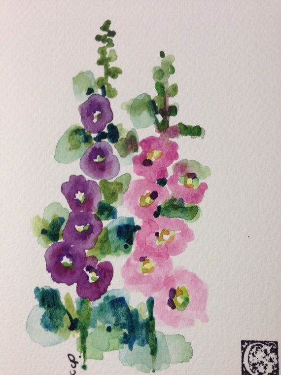 Hollyhocks Watercolor Card por gardenblooms en Etsy