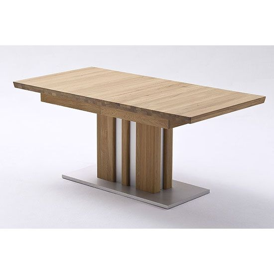 Bolzano Extendable Solid Oak Dining Table 160cm-260cmColumnar table solid oak in core beechFeatures:•Bolzano Extendable Solid Oak Dining Table•edge of table is doubled 50 mm•Ta...