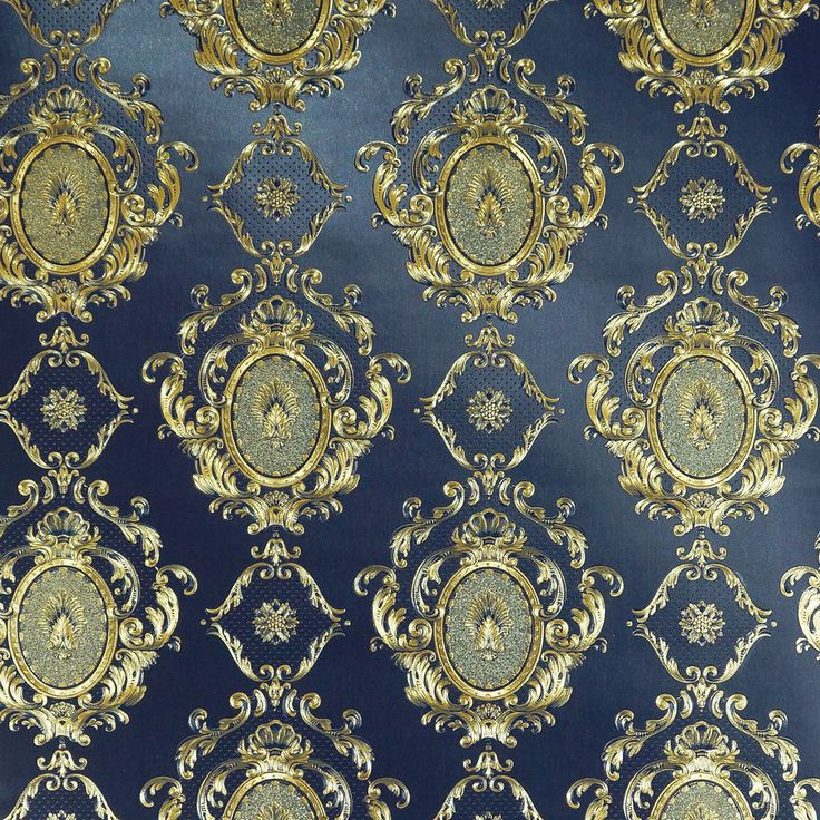 Gold Embossed Blue Damask wallpaper 10m Roll