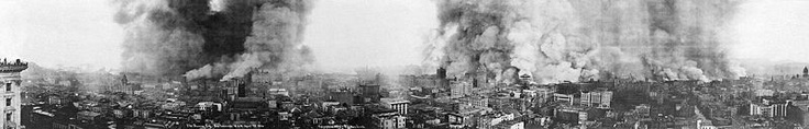 """""""Panoramic View of San Francisco in Flames Other Effects of the Disaster """" """"This panoramic view shows San Francisco in flames, five hours after the earthquake. The photograph taken from Mason Street at 10:00 A.M., April 18, 1906. There is little evidence of earthquake damage. Most of the city's downtown buildings appear to be intact, yet flames later partially or wholly destroyed these buildings. The fire continued unchecked for three days."""