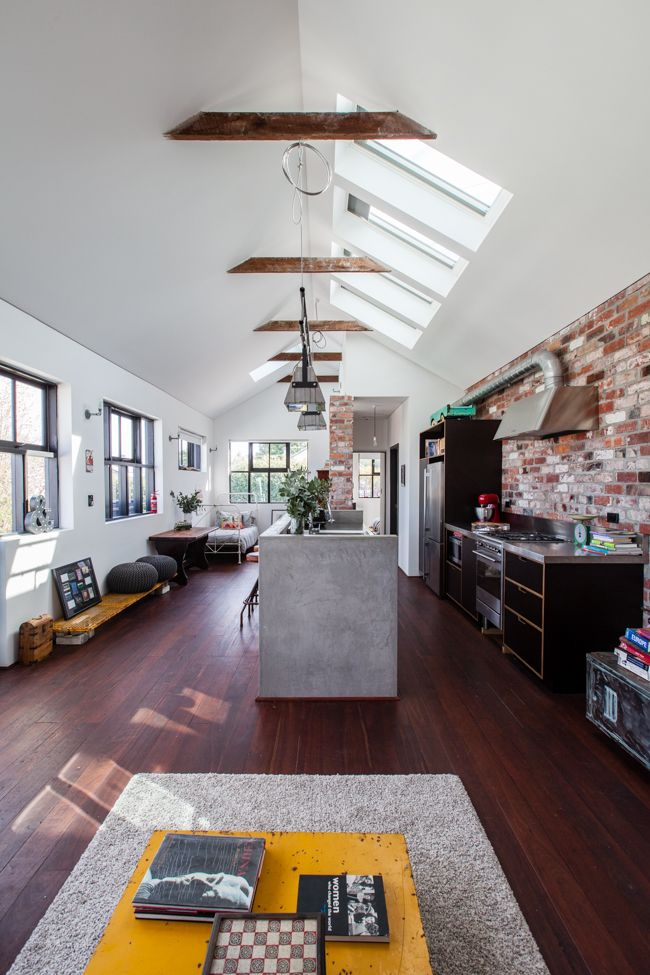 This house is in Perth (Mt Lawley)! Very cool. I want the high ceilings and sky lights.