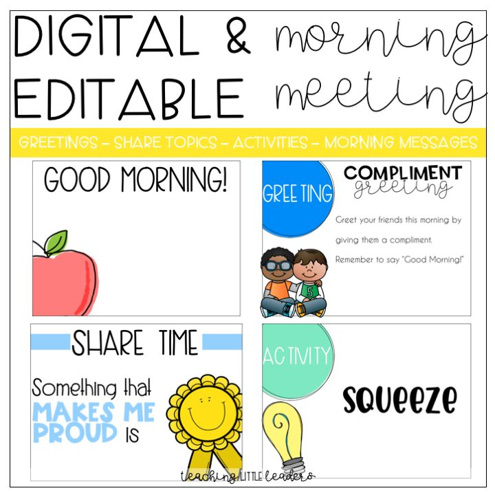 Digital and Editable Morning Meeting Slides