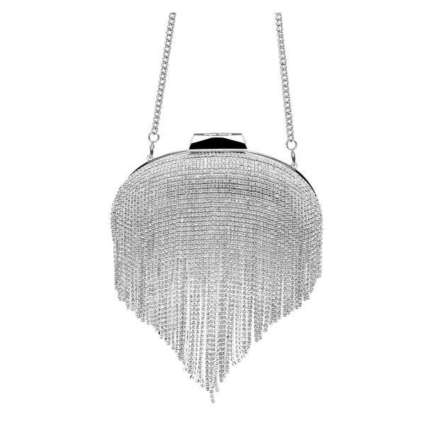 'Estelle' Cover Frame Crystal Pod - OB6262- RRP $199 - Silver - Olga Berg Handbags and Bags Online