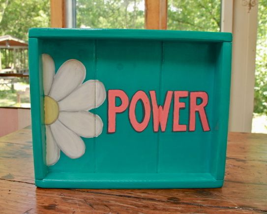 """PEEK A  BOO TRAY 'FLOWER POWER"""" AVAILABLE AT LUCY'S GARDEN WOODEN WHIMSIES ON ETSY"""