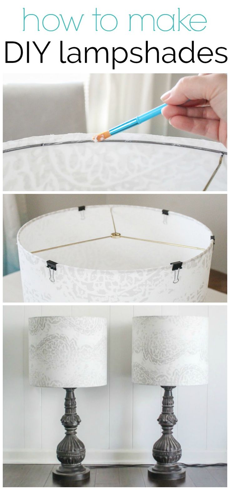 How to make a lampshade - making custom diy lampshades is a quick and easy project.  ad #diyhomedecor #lampshade #lamps