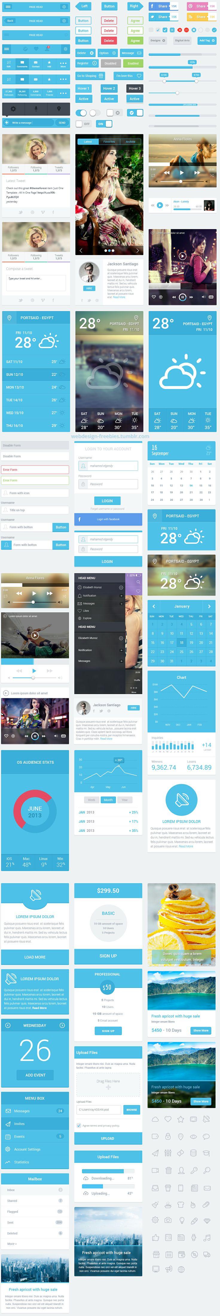 Flatastic - Free Mobile UI Kit