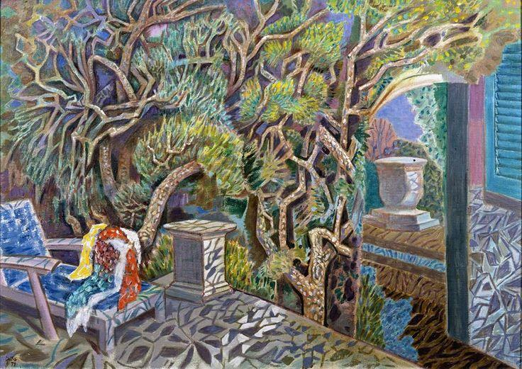 Νίκος Χατζηκυριάκος-Γκίκας. Πεύκα και μπλε καρέκλα το απόγευμα, 1979. Λάδι σε καμβά. Ιδιωτική συλλογή, Αθήνα
