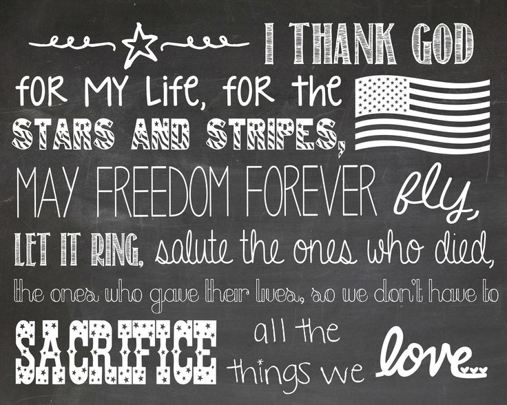 """Free Zac Brown Band """"Chicken Fried"""" Chalkboard Printable - Handmade Is Better  Free chalkboard art printable - click the link for a color (red, white and blue) version as well!)"""