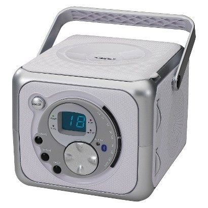 For B:  Doesn't have to be this exact one, but this one is good.  Want small/compact CD & radio player with plug-in to iphone ability.  Clock would be bonus, this one doesn't have.  Don't want anything too expensive.  Jensen Portable Bluetooth Music System with CD Player - Silver (CD-555A)