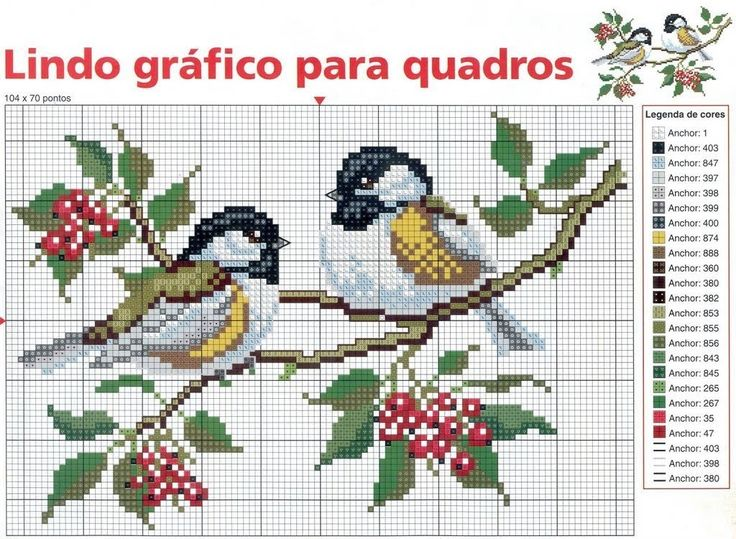 Two birds on a branch cross stitch pattern