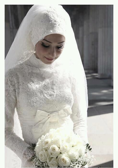 Beautiful Tulle and Lace wedding veil used as a hijab