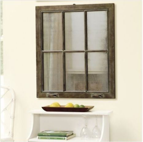 Vintage window mirror project. Fantastic!!! Take a vintage window frame, paint with color of your choice, and use Krylon looking glass paint to give a mirrored look to the glass. Fast, beautiful, and trendy!!