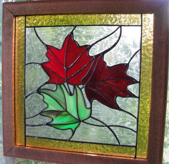 Autumn Maple Leaf Stained Glass Panel By