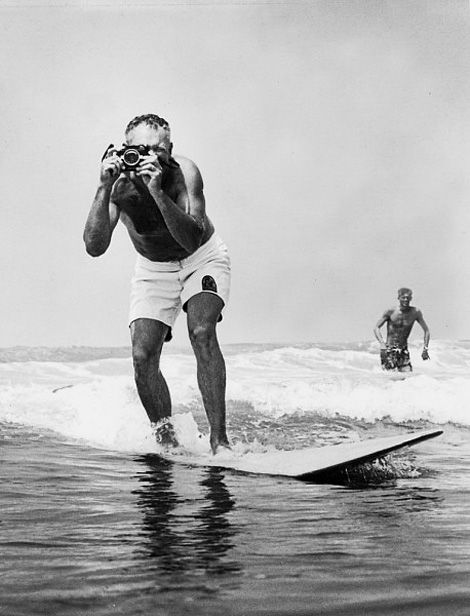 LeRoy Grannis (1917-2011) , photographic chronicler of surf culture, photographed by John Grannis and beneath is one of his own photographs.