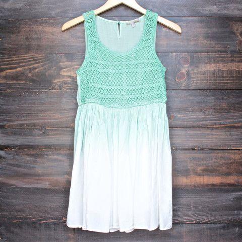boho dip dye crochet dress - neon green