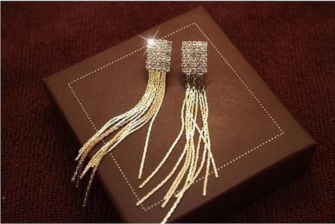 Sparkly Rhinestones golden long tassels clip on earrings www.zappedjewelry.com