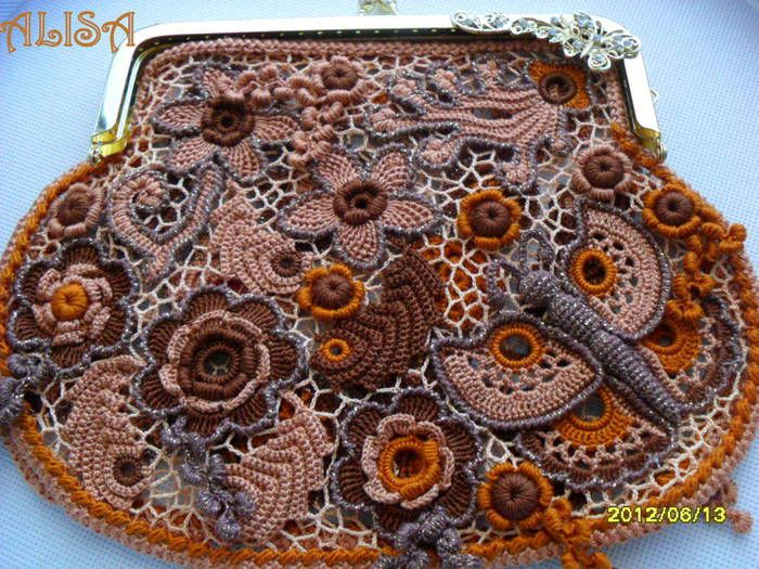 Vintage bag 3. Alisa vintage look crochet handbag embellished with beauties. No pattern - just Pure Inspiration. This is amazing!