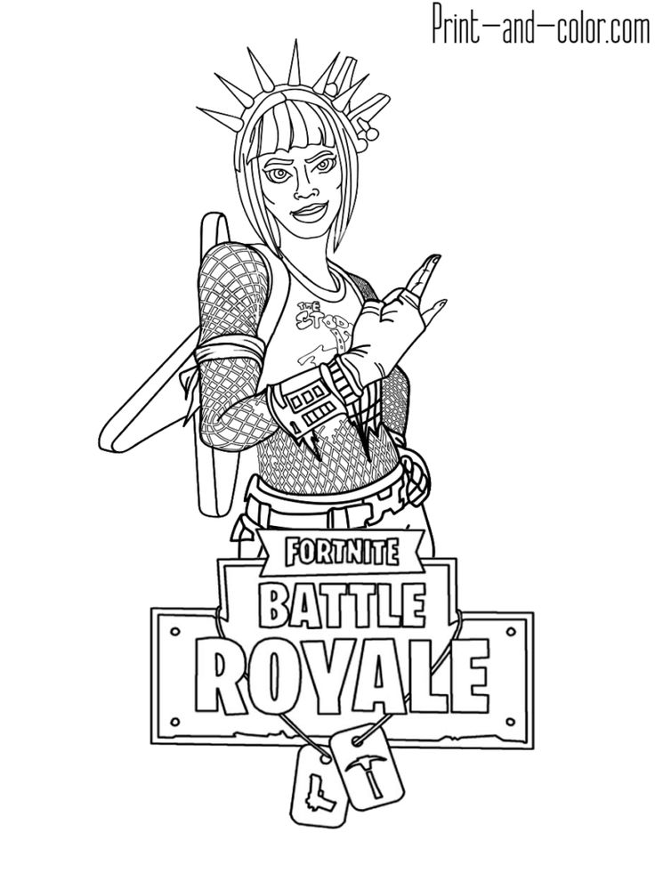 Kleurplaat Fortnite Skin Fortnite Battle Royale Coloring Page Power Chord Female