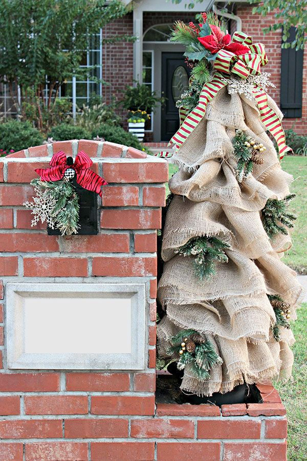 Christmas Mailbox Decorations Burlap And Greenery Trees