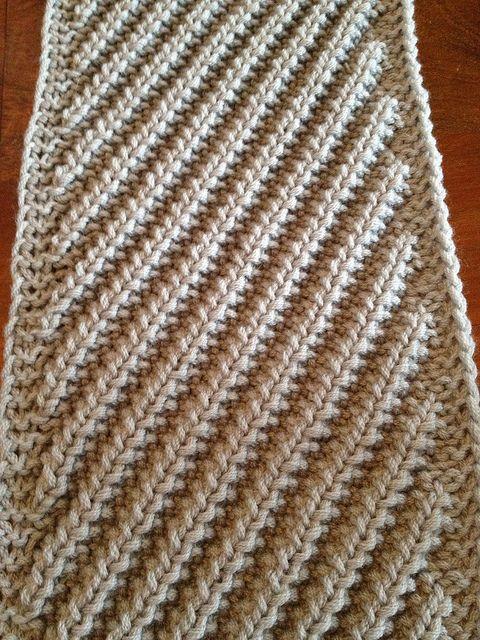 Diagonal mistake rib scarf | free knitting pattern |by heidimarierobinson, via Flickr. Looks like a good pattern for a man's scarf.
