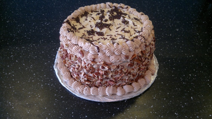 This a German Chocolate cake. That I made for Easter dinner with our wondeful friends.: German Chocolate