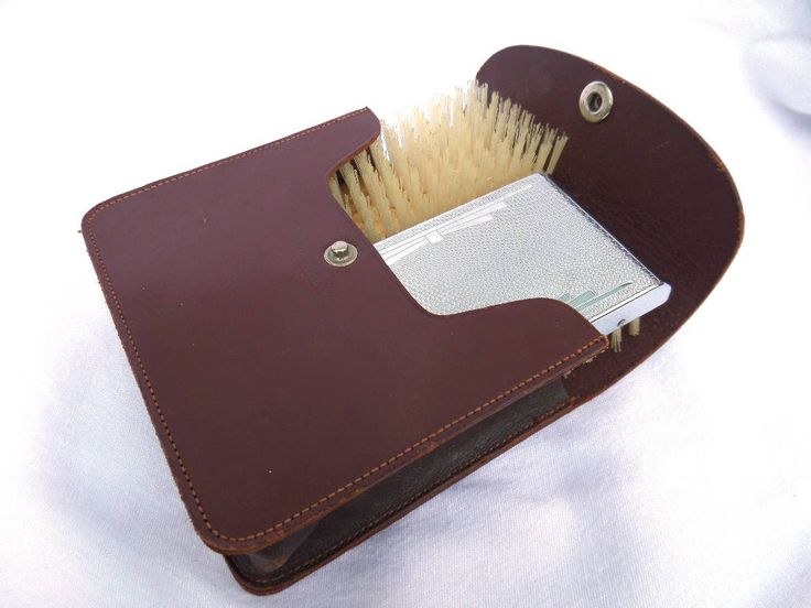 Men's Hair Brushes, Art Deco, Nylon Bristle, Chrome, Wood, Leather Case, Made in England, Mid Century Gentleman's Grooming, Immaculate! by BlackSquirrelHome on Etsy https://www.etsy.com/uk/listing/511669092/mens-hair-brushes-art-deco-nylon-bristle
