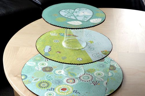 DIY Cupcake Stand -- made out of cardboard cake circles, scrapbook paper and plastic cups!