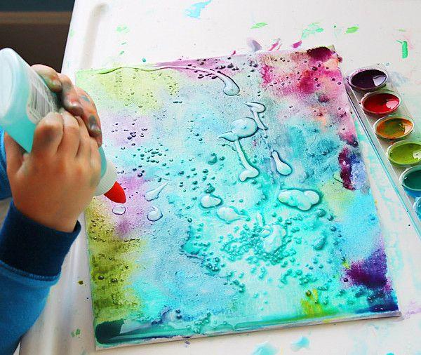 Schilderen met waterverf, lijm en zout