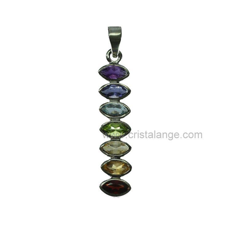 Découvrez nos bijoux pierres fines pour lithothérapie ainsi que nos bijoux chakras avec ce pendentif argent et pierres fines facettées aux couleurs des sept chakras Fusettes sur Cristalange.