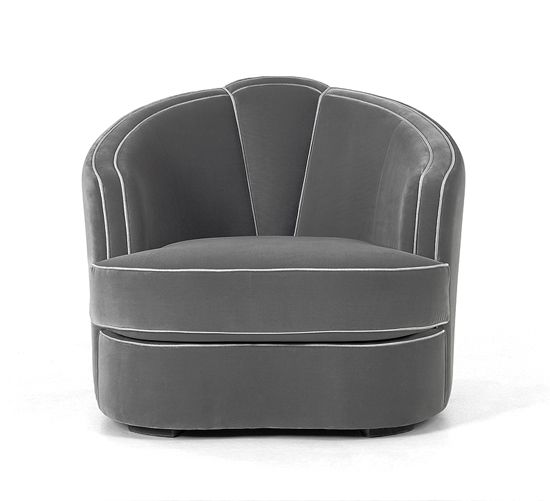 HollLuxury Designer Grey Leather Club Chair,