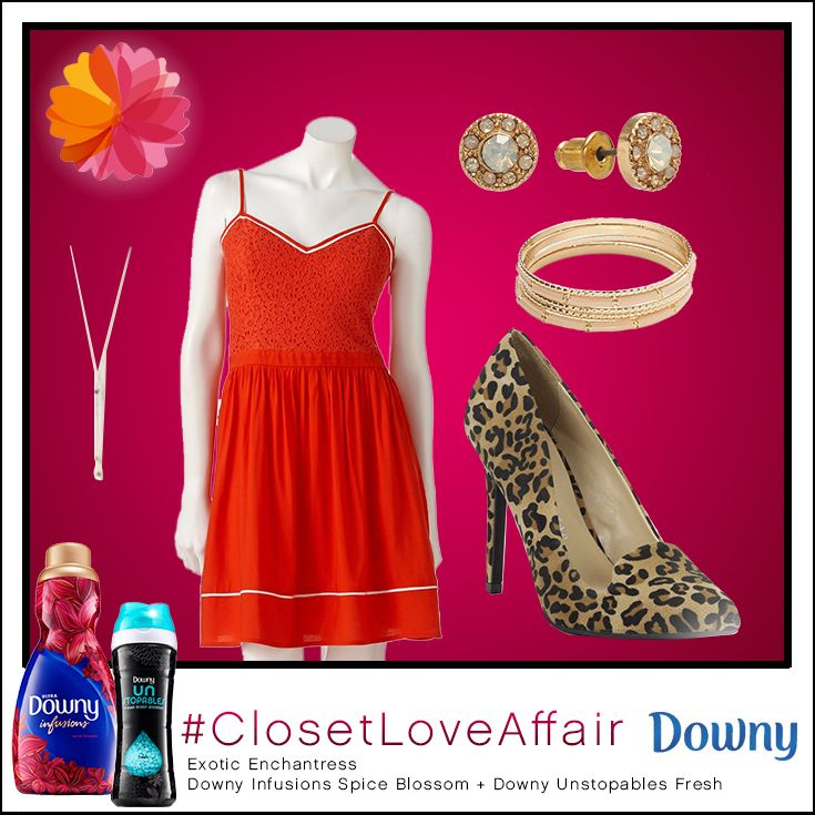 This Exotic Enchantress look was inspired by Downy Infusions Spice Blossoms and Downy Unstopables Fresh. Pair this beautiful red dress with a pop of leopard for an enchanting ensemble!  To shop this look, visit the LC Lauren Conrad collection available only at Kohl's. To register for the #ClosetLoveAffair sweepstakes visit https://downy.promo.eprize.com/pinterest/.