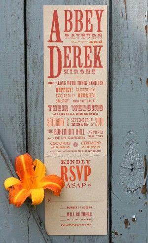 Broadside poster wedding invitation