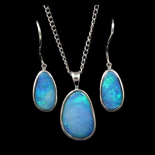 Opal Set 9018 Brilliant green opal in sterling silver matching set. https://opalmine.com/product/opal-set-3/