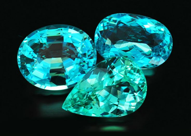 Paraiba tourmalines are among the most sought after colored stones in the world. Prices of top stones have perhaps appreciated more than any other gemstone over the last 10-15 years. These stones are from the Mavuco area of Mozambique. Only some 10% of recovered stones actually show blue-to-green Paraiba-like colors without heat treatment. Unfortunately, there is little new production and stones like these are nearly impossible to find.