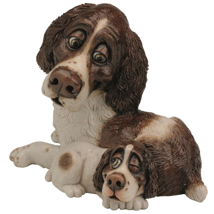 Pets With Personality - Springer Spaniel & Pup 5509 Available @ Li'l Treasures $68. (International Shipping available)