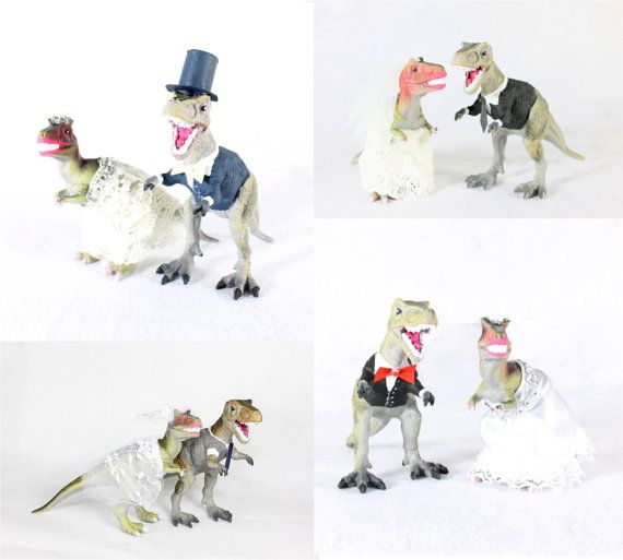 This dinosaur bride and groom make the perfect wedding cake toppers. Add a bit of whimsy to your big day with these silly characters. *This is a