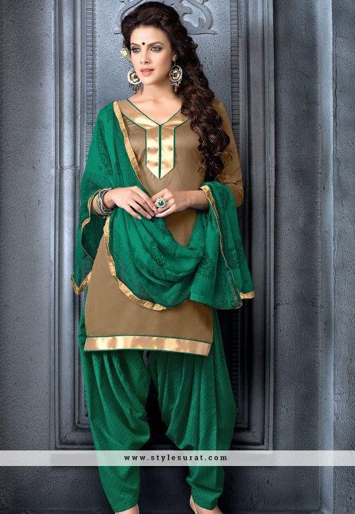 Bedazzling Brown Cotton Patiala Salwar Suit